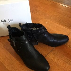 Never Worn...Black Style & Co belted booties.